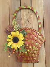 Autumn Fall Harvest Floral Sunflower Metal Basket Wall Art Leaves Door Decor