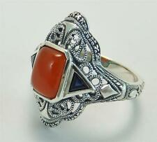 Art Deco Ring Carnelian Real Sapphires Sterling Silver New Original Mold Size 8