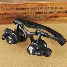 Headset Jeweler Magnifier With LED Lamp Light Headband Magnifying Glass Loupe YA