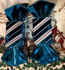 "XL S/2 12"" Peppermint Candy Cane Ornament  Blue White Hanging Christmas Tree"