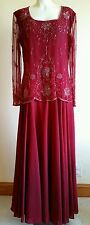 Formal Beaded Gown Mother of the Bride or Groom Dress Cruise Size M Burgundy