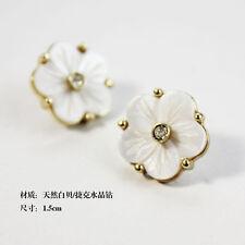 Boucle d`Oreille Femme Fleur Nacre Naturelle Blanche Cristal Super Joli NN 3