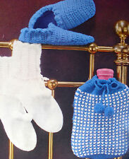 LADYS KNITTING BED SOCKS, HOT WATER BOTTLE COVER & CROCHET SLIPPERS PATTERN