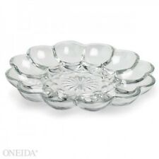 ANCHOR HOCKING Presence Glass Deviled Egg Relish Serving Tray - NEW