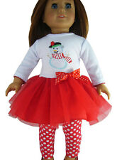 "Christmas Snowman Tutu Dress & Leggings for 18"" American Girl Doll Clothes"