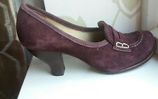 CLARKS AUBERGINE SUEDE LOAFERS WW2 VINTAGE 1930s 1940s STYLE SHOES UK 4 EU 37