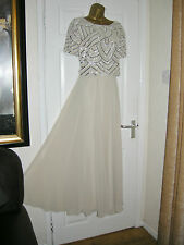 18 ASOS BEIGE SILVER MAXI DRESS CROP SEQUIN CHIFFON 20'S 30S VINTAGE GATSBY