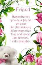 Friend Anniversary Bereavement Graveside Memorial Keepsake Card no3A free post