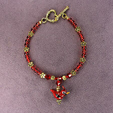3D CRESTED CARDINAL BRACELET Red Bird Totem Attraction Passion Flowers Gold Bead