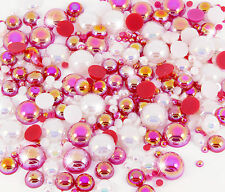 15g CHRISTMAS Flat Back AB Iridescent Pearl Mix Set Decoden UK SELLER