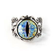 Ice Blue Dragon Snake Taxidermy Eyeball Antique Silver Adjustable Filigree Ring