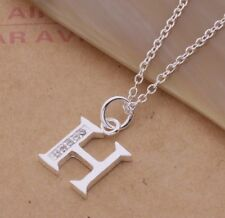 925 Sterling Silver LETTER H Swarovski Crystal Pendant Charm Necklace Chain Gift