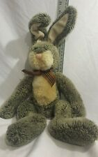 Vintage large Russ Hamilton Bunny Rabbit Plush Gray Stuffed Animal bow about 22""