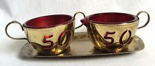 Ruby Red Sugar Creamer Set Gold Metal Outer Cups 50th Golden Anniversary Vintage