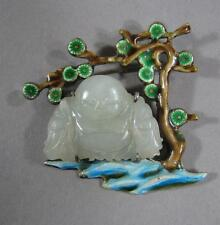 Nice Old Chinese Jade, Silver & Enamel Happy Buddha Pin Brooch Hat Finial
