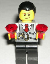 LEGO City Jeweler MINIFIGURE Trans-Red Jewels Vest/Tie/Watch