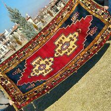 """Unique 4'4×6'11""""Antique 1900-1930s Armenian Natural Dyes Wool Pile Area Rug"""