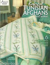 Colorful Tunisian Afghans to Crochet Instruction Patterns Annie's Attic NEW