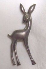 Vintage MEXICO SILVER Fawn DEER figural broochTurquoise stone eye Rare HTF