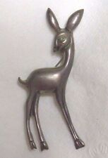 Vintage MEXICO SILVER Fawn DEER figural brooch Turquoise stone eye Rare HTF