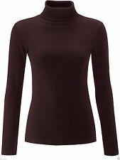 Womens Ribbed Cotton Polo Roll Turtle Neck Tunic Long Sleeve Fitted Jumper Tops