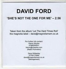 (BY823) David Ford, She's Not The One For Me - 2010 DJ CD