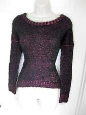 BEBE BLACK TWO TONE FEATHER YARN LONG SLEEVE HI LO SWEATER NWT NEW SMALL S