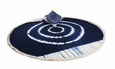 Shibori Indigo  Mandala Round Bed Cover Wall Hanging Art Cotton Tapestry