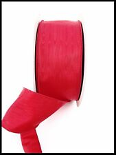 RED MOIRE CHRISTMAS WIRED RIBBON - 3'' X 50 YDS