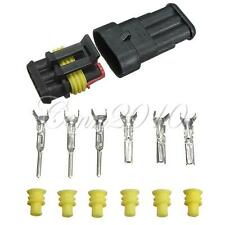 Car 3 Pin Way Sealed Waterproof Electrical Wire Connector Kit Plug Set Truck