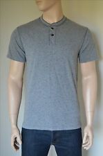 NEW Abercrombie & Fitch Classic Printed Henley T-Shirt Tee Grey L