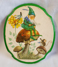 Vintage Gnome Wall Plaque Ceramic Decoupage Glittery Mushroom Mouse 9.75""