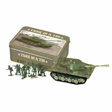 Mini Toy Motorized Tank & Toy Soldiers In A Retro Vintage-Style Tin Box