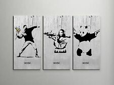"Banksy Collage Stretched Canvas Triptych Print 48""x30"". BONUS BANKSY WALL DECAL!"