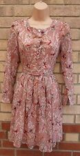 TENKI DUSTY PINK FLORAL BIRD RED HALF BUTTONED BELTED SKATER FLIPPY TEA DRESS 8