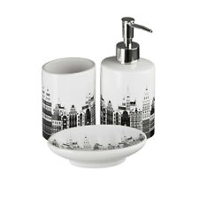 3 Piece Skyline White Black Bathroom Accessory Set Tumbler, Soap Dish, Dispenser