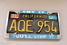 Vintage CALIFORNIA LICENSE PLATE AQE 954 with FRAME car truck sign original