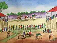 PRO HART ORIGINAL HAND COLOURED ETCHING 'Country Race Meeting' COA by publisher
