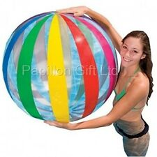"New Giant Intex 42""/107cm Beach Ball Colourful Strip Design Jumbo Beach Ball"