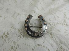 Antique Victorian Sterling Silver Horseshoe Brooch 1887