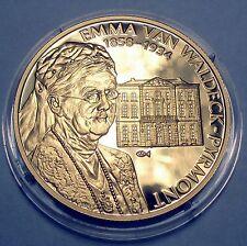 NETHERLANDS EMMA VAN WALDECK-PYRMONT 1858-1934 BU Proof Medal 39mm 26g Gold Plat