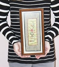 Vintage Framed Silk Fabric Embroidered Picture Oriental Style Flowers