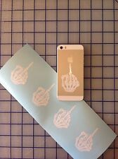 "4 SKULL MIDDLE FINGER Funny CELL iPHONE iPOD DIE CUT DECAL STICKER 2.5""x1.5"" JDM"
