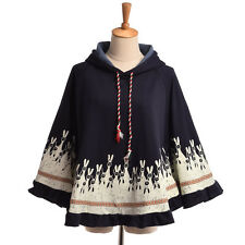 Girls Rabbit Ears Coat Kawaii Loose Thicken Hoodie Spring Fall Cape Two Colors