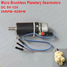 DC 5V-12V 52RPM Mini Planetary Gearbox Motor Brushless Gear Motor w/ Hall Sensor
