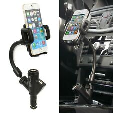 Dual 2 USB Port Car Cigarette Lighter Charger Mount Holder For Cell Phone HTC