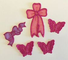 Pink organza butterflies and bows appliques/motifs Iron on or sew on craft