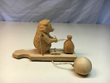Old Vtg Wood Wooden Handcarved Russian? Bear With Sack  Pull String Toy