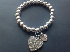 bijoux love heart charm stretch bracelet 8mm silver plated beads boho stackable