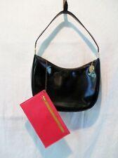 Vtg KORET Leather Hobo Footed Shoulder Bag Purse Handbag Wallet BLACK M